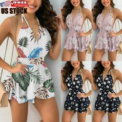 Women#x27;s Boho Floral Sexy Backless Mini Dress Ladies Summer Beach Swing Sundress $15.79