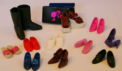 11 PAIRS Mattel BARBIE SHOES MINT amp; Shoe Box Harley Boots Strap Platform Pumps $15.99