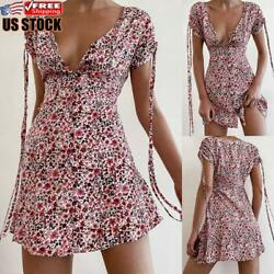 US Women#x27;s Summer Boho Floral Mini Sun Dress Ladies Holiday Beach Swing Dress $15.79