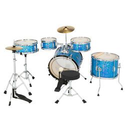 Glarry 5 Piece Full Size Complete Beginner Drum Set Kit with Stool amp; Sticks Blue $199.00