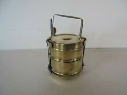 Old Brass Handcrafted Solid 2 Compartment Lunch Tiffin Box $36.00