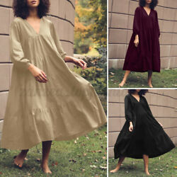 ZANZEA Women A Line Puff Sleeve Solid Elegant Swing Long Midi Skirt Plus Dresses $22.25
