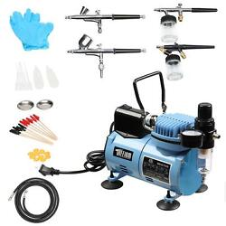 Blue Master Airbrush Compressor Kit with 4 Airbrushes Paint Hobby Cake Tattoo $99.99