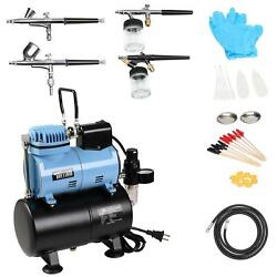New Master Airbrush Air Compressor System Kit with 0.2 0.3 0.35 0.8mm Airbrushes $117.99