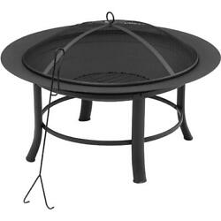 28quot; Round Outdoor Wood Burning Fire Pit Backyard Patio Black W Mesh Spark Guard $44.69