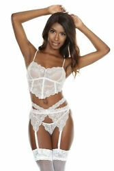 Coquette White Scallop Lace Long Line Soft Cup Bra Set $38.00