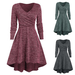 Womens V Neck Long Sleeve Mini Dress Autumn Casual Solid Swing Party Dresses $24.31