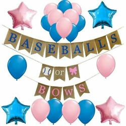 Gender Reveal Party Supplies and DecorationsBaseballs or Bows Theme Burlap Bann $25.47