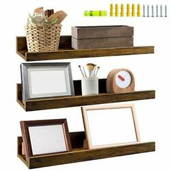 Giftgarden 16 Inch Floating Shelves for Wall Set of 3 Rustic Wall Mounted $35.95