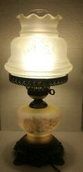 Vintage Hurricane Parlor Lamp 1971 Lamp;L WMC Gone With the Wind Yellow Roses $89.95