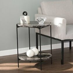 2 Tier Side End Table Contemporary Lamp Stand Living Room Furniture Black Finish $173.73