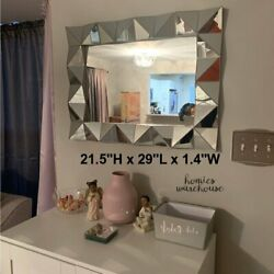 Large Accent Wall Mirror Decor Angled Frame Hanging Vanity Bathroom Bedroom Hall $91.91