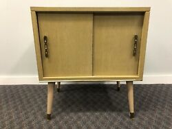 Mid Century Record Cabinet danish modern vintage wood table stand lp storage 60s $149.99