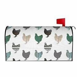 Wooden Chickens Mailbox Covers Magnetic Mailbox Wraps Post Letter Box Cover $30.94