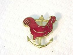 Vintage Rhode Island Red Rooster amp; Anchor Enamel amp; Brass Military Pin $17.99