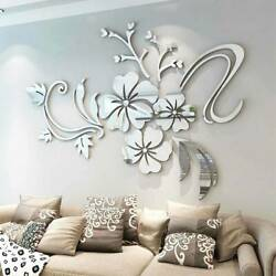 Removable Wall Stickers 3D Mirror Flower Art Mural Decals Living Room Home Decor