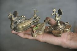 3 Pc Old Brass Unique Peacock Crafted Different Handcrafted Tikka Boxes $56.00