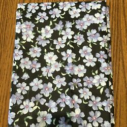 Vintage Material FOR GET ME NOT Flowers On Black Background Cotton Fabric 2 Yds $28.95