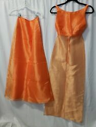 Gunne sax 2 Piece Dress Top Skirt Size 3 orange Prom formal backless 2000 long