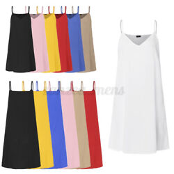 US Womens Strappy Holiday Mini Dress Maxi Tops Summer Plus Size Loose Slip Dress $13.79
