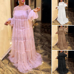 Womens Puff Sleeve Mesh See Though Lace Dresses Loose Evening Party Formal Dress $21.64