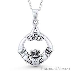 Irish Claddagh Heart Celtic Triquetra Charm 925 Sterling Silver Necklace Pendant $28.79