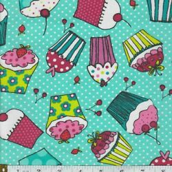 Cupcake Fabric Novelty Cotton Food Sweets Cherry on Top FQ HY or Yard $3.95