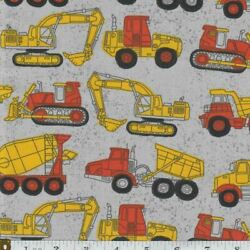 Construction Machines and Trucks On Gray Boys Novelty Cotton FQ HY or Yard $3.95