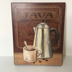 Java Hanging Sign Coffee Decor 10quot; X 7.75quot; X 1quot; Coffee Mug Beans Carafe $13.75