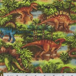 Novelty Cotton Fabric Dinosaurs Boys Animal Quilting FQ HY or Yard $3.95