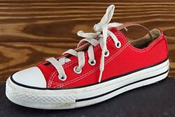 Converse All Star Women Sz 6 M Red Lace Up Low Top Fabric Shoe $22.48