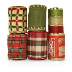 21 Yards Red Green Gold Christmas Coordinating Wired Ribbon $14.00