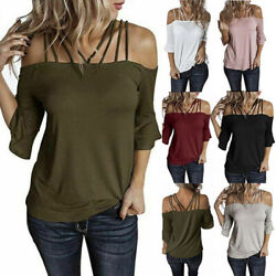 Women Off Shoulder Sexy T Shirt Flare Short Sleeve Plus Size Solid Tops Blouse $14.87