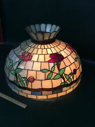 Vintage Leaded Stained Glass Floral Hanging ShadeTiffanyHandel Style 22.5quot; $495.00
