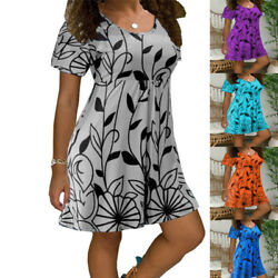 Women Summer Floral Mini Dress Short Sleeve Casual Crew Neck Sundress Plus Size $14.87