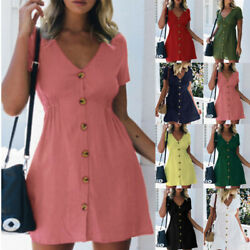 Womens Summer Short Sleeve Solid V Neck Button Plus Dress Casual Short Sundress $14.87