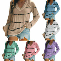 Womens Long Sleeve T Shirt V Neck Loose Top Plus Size Casual Blouse Stripe Tunic $15.29