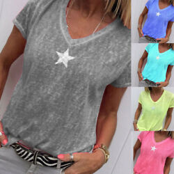 Women Summer Solid T Shirt V Neck Short Sleeves Tops Loose Casual Blouse Plus $11.43