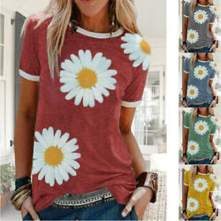 Women Short Sleeve Casual Summer Blouse Crew Neck T Shirt Floral Loose Plus Top $12.31
