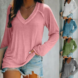 Womens Long Sleeve V Neck T Shirt Casual Solid Pullover Blouse Loose Basic Tops $9.77