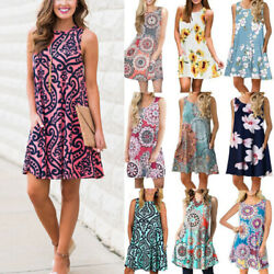 Women Boho Floral Pockets Mini Dress Casual Party Evening Summer Tank Sundress $15.39