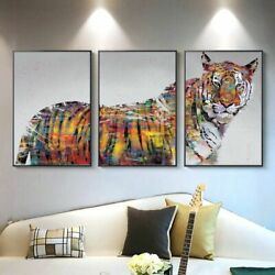 Colorful Tiger 3Set Poster And Print Wall Art Canvas Oil Painting For Home Decor $108.09