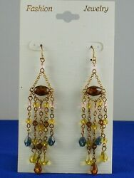 Unbranded Antique Goldtone Brown Gold Blue Beaded Chandelier Fashion Earrings $12.50