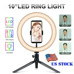 10quot; LED Ring Light with Tripod Stand amp; Phone Holder Dimmable Desk Ringlight Kit $10.99
