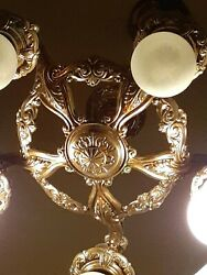 Antique Art Nouveau Gold Tone Chandelier And Wall Sconce 3 piece Set Very Ornate $849.00