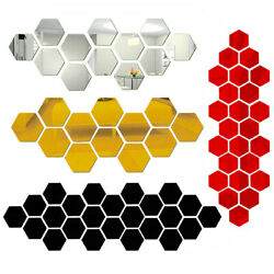 12Pcs Mini 3D Hexagon Wall Stickers Mirror Removable Acrylic Home Decor Decal RK $1.35