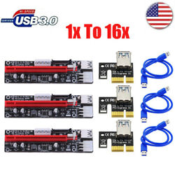 3x PCI E Express 1x to 16x USB3.0 GPU Extender Riser Adapter Card Power Cable $24.99
