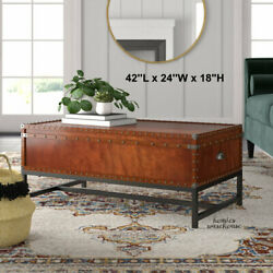 Traditional Coffee Table Lift Top Chest Wood Metal Antique Rustic Style Storage $247.10