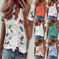 Womens Summer T Shirt Boho V Neck Short Sleeve Floral PrintBlouse Casual Loose $13.52