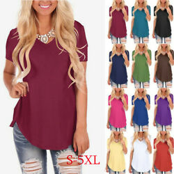 Women Summer T Shirt Short Sleeve V Neck Plus Size Solid Blouse Casual Loose $12.89